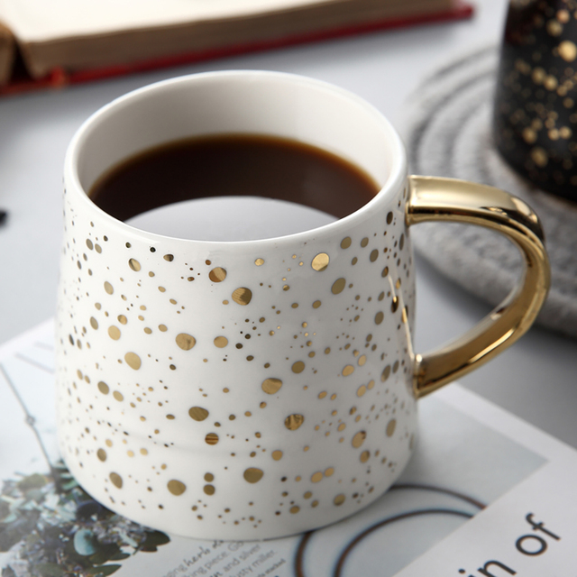 Ceramic Coffee Mug – Gold Dots