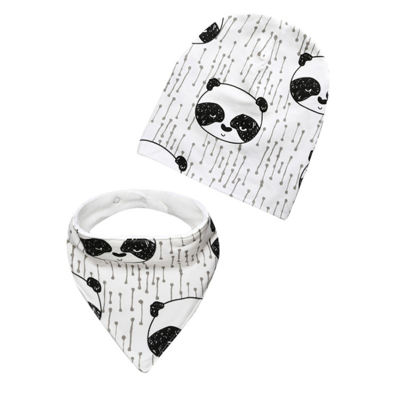 Fashion Spring Summer Baby Hat Set Baby Boy Girl Cap Cotton Bibs Scarf 0-3Y Toddler Infant Hat Set Kids Hat Scarf Bandana Bibs