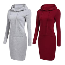 2019 New Hoodie Women  Dress Long Sleeve Warm Solid color Casual Sweatshirt for