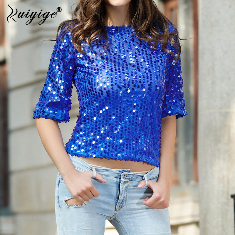 Ruiyig 2018 Sequined Half Sleeve O Neck Women Fashion Nightclub Party Female Tops Summer Slim Pullover Bling Casual Work Blouse