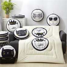 40cm Multifunction Cartoon Cool Cat Plush Round Portable Cushion Blanket Air Conditioning Quilt Throw Pillows for Car Sofa