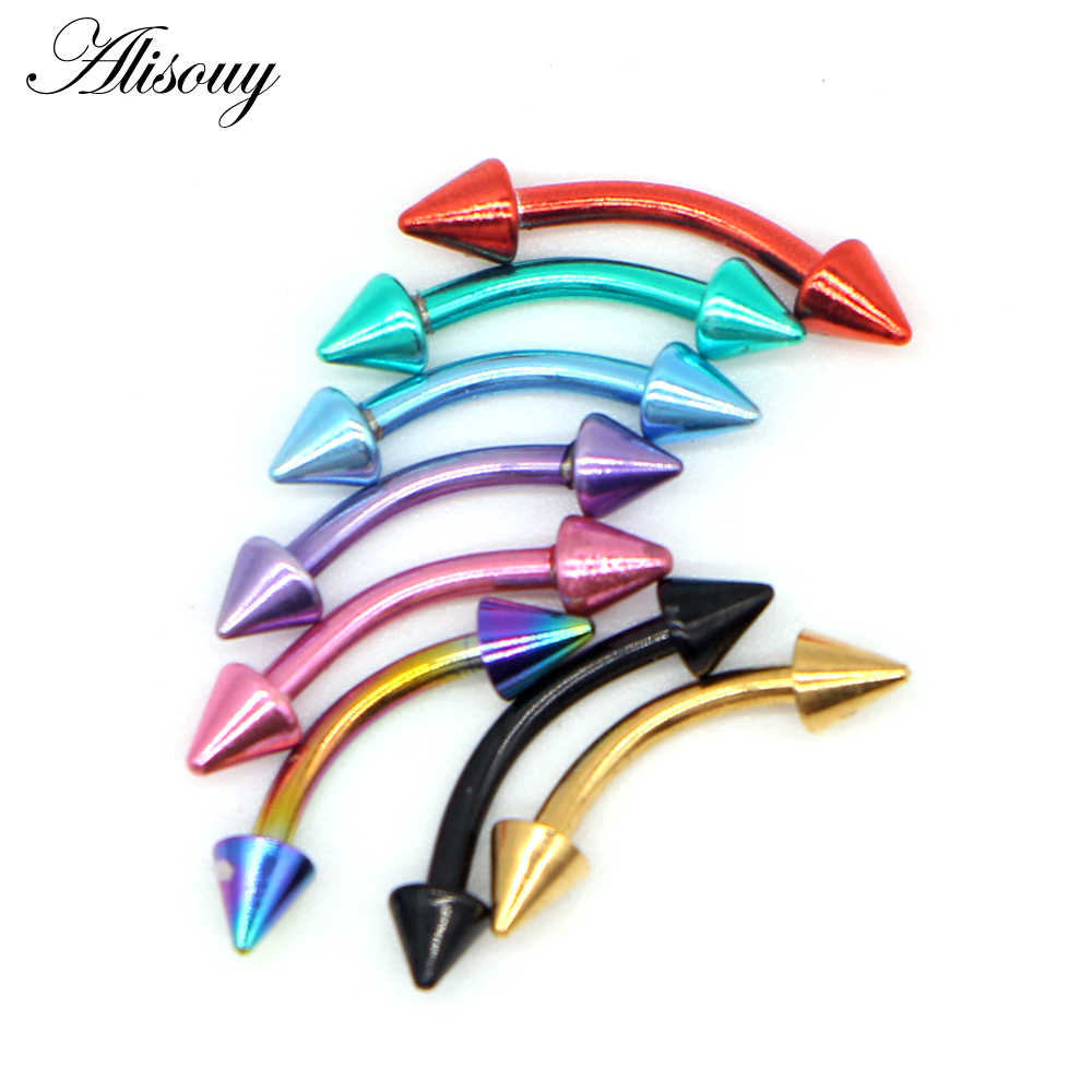 Alisouy 1pc Stainless Steel Horseshoe Spike Nose Septum Rings Eyebrow Tragus Ear Rings Body Piercing Nariz Jewelry Piercing