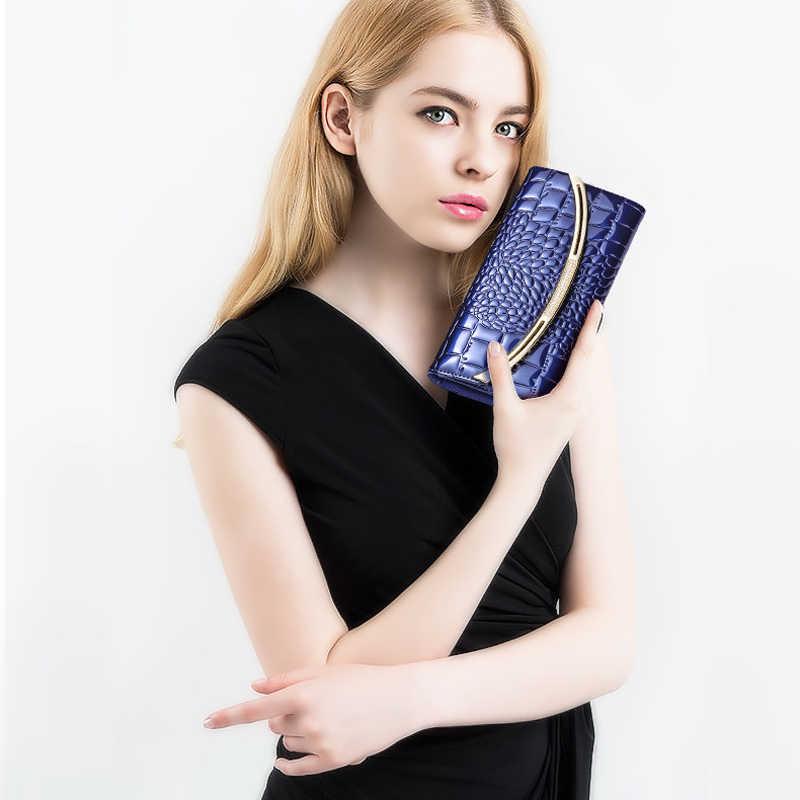 Модный женский кошелек из натуральной кожи 2019, роскошные дизайнерские кошельки из лакированной кожи, женский клатч, Женский кошелек с 3 сложениями из воловьей кожи на застежке