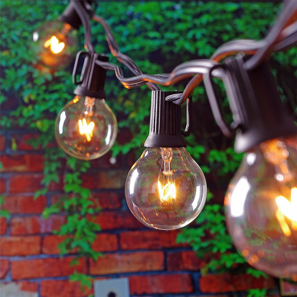 Good G40 Vintage Bulb Light String Globe Christmas String Light 25 Clear Patio  Lights Outdoor Backyard Garland