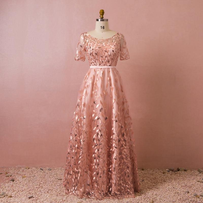 Plus Size Simple Sheer Neck Sequins Lace Vestidos De Festa Pleats A-Line Long   Bridesmaid     Dresses   Half Sleeve Prom Party Gowns