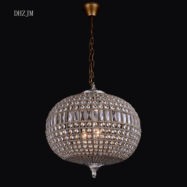 Replica Vintage Large Oval Ball Charming Shabby Chic French Empire Style Bag Crystal Chandelier For Ornaments