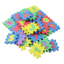 36pcs/set Baby Play Mat Soft Cotton Toy Mini Maths Educational Rug Puzzle Kid Letters Numeral Foam Play Children Gift(China)