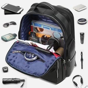 Image 3 - BOPAI جلد طبيعي على ظهره متعددة الوظائف USB تهمة مكافحة سرقة حقيبة لابتوب 15.6 بوصة رجل محمول على ظهره حقيبة السفر