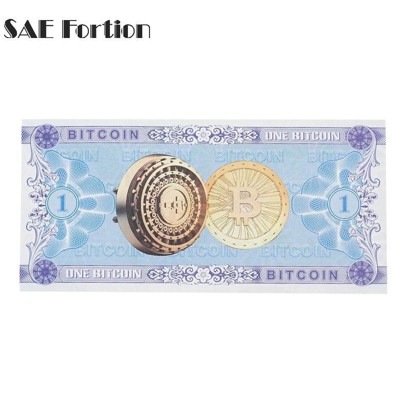 1 шт. Bitcoin банкноты Бумага поддельные деньги сувенир флуоресцентный схема под проверки свет украшение дома JNB1534