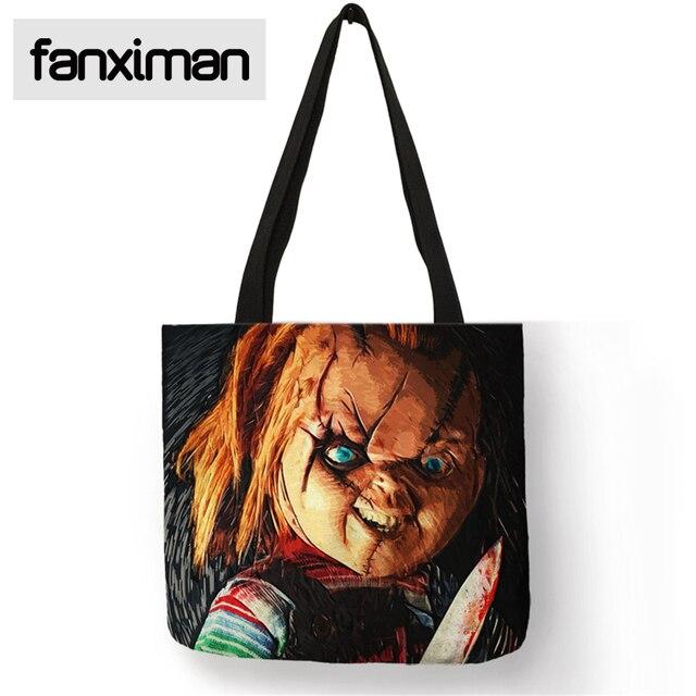 horror movie chucky printed tote bag linen reusable bag shopping