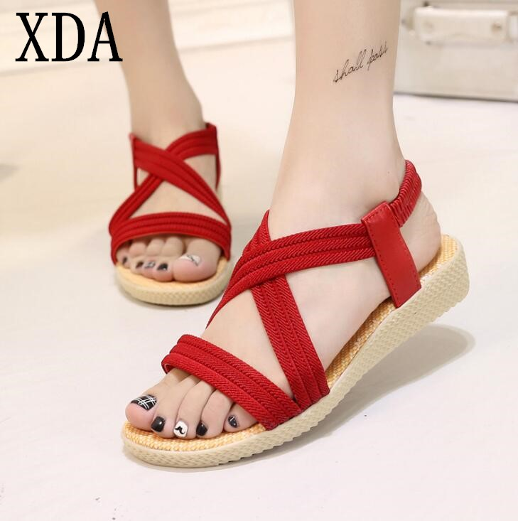 XDA Summer Women Sandals Bohemia Comfortable Ladies Shoes Beach Gladiator Sandal Women Casual Shoes Simple Female Shoes F48 fluorescence yellow high visibility