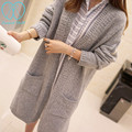 2020# Autumn Maternity Sweaters with Patch Pocket Oversize Fashion V Neck Knitted Cardigans Clothes for Pregnant Women