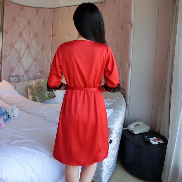 Ladies Elegant Silk Satin Robe Set Half Sleeve Bathrobe & Sexy Nightdress Lace Sleepwear Set  Fashion Twinset For Women