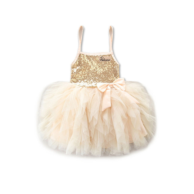 9a47d250892d21 Gold and Gray Princess Kids Girls Dresses Lace Bowknot Sequins Tulle Tutu  Summer Dress Wedding Party