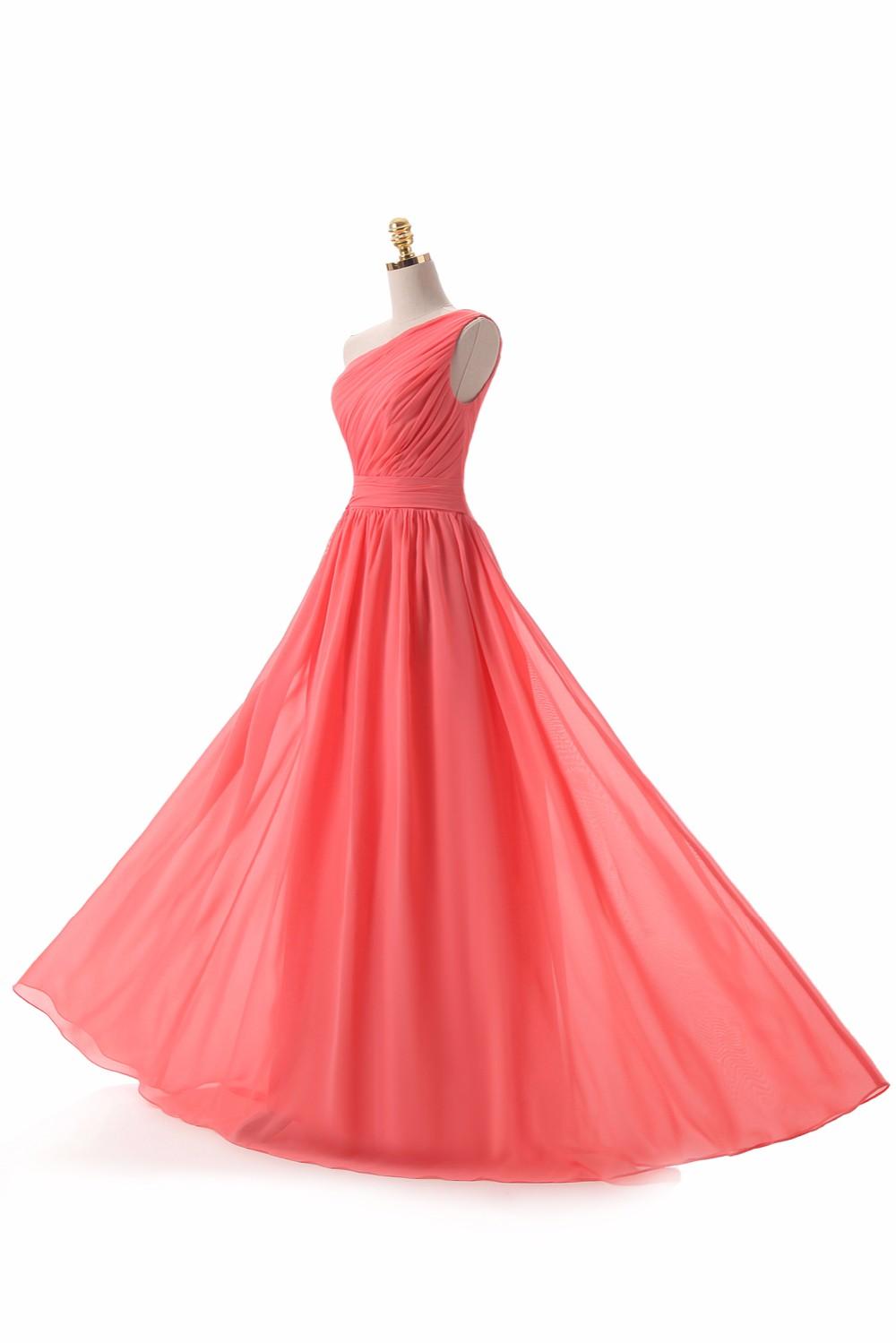 One Shoulder Draped Chiffon Long Bridesmaid Dress