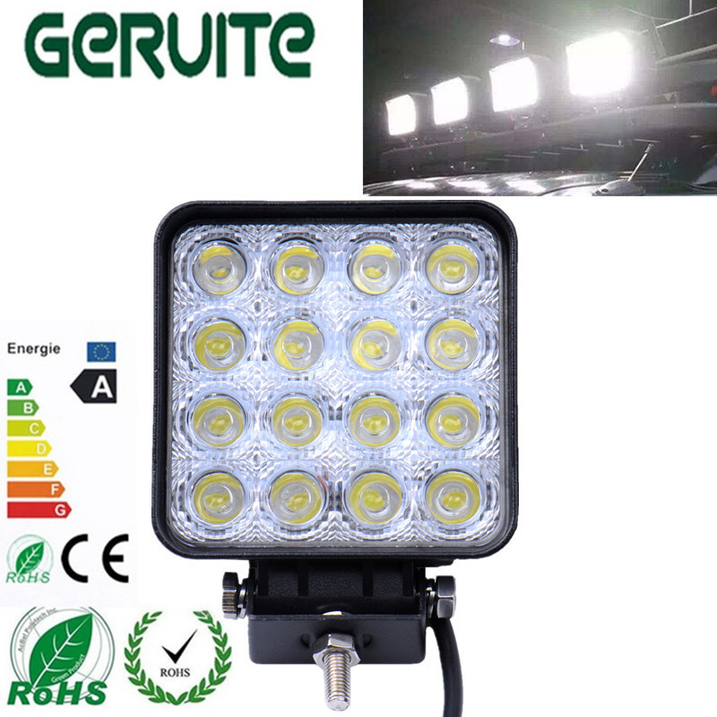 4pcs High Quality And Brand New 4.2inch 12V 24V 48W Off Road Flood Square LED Work Light Lamp for Car Truck Vehicle Driving Boat
