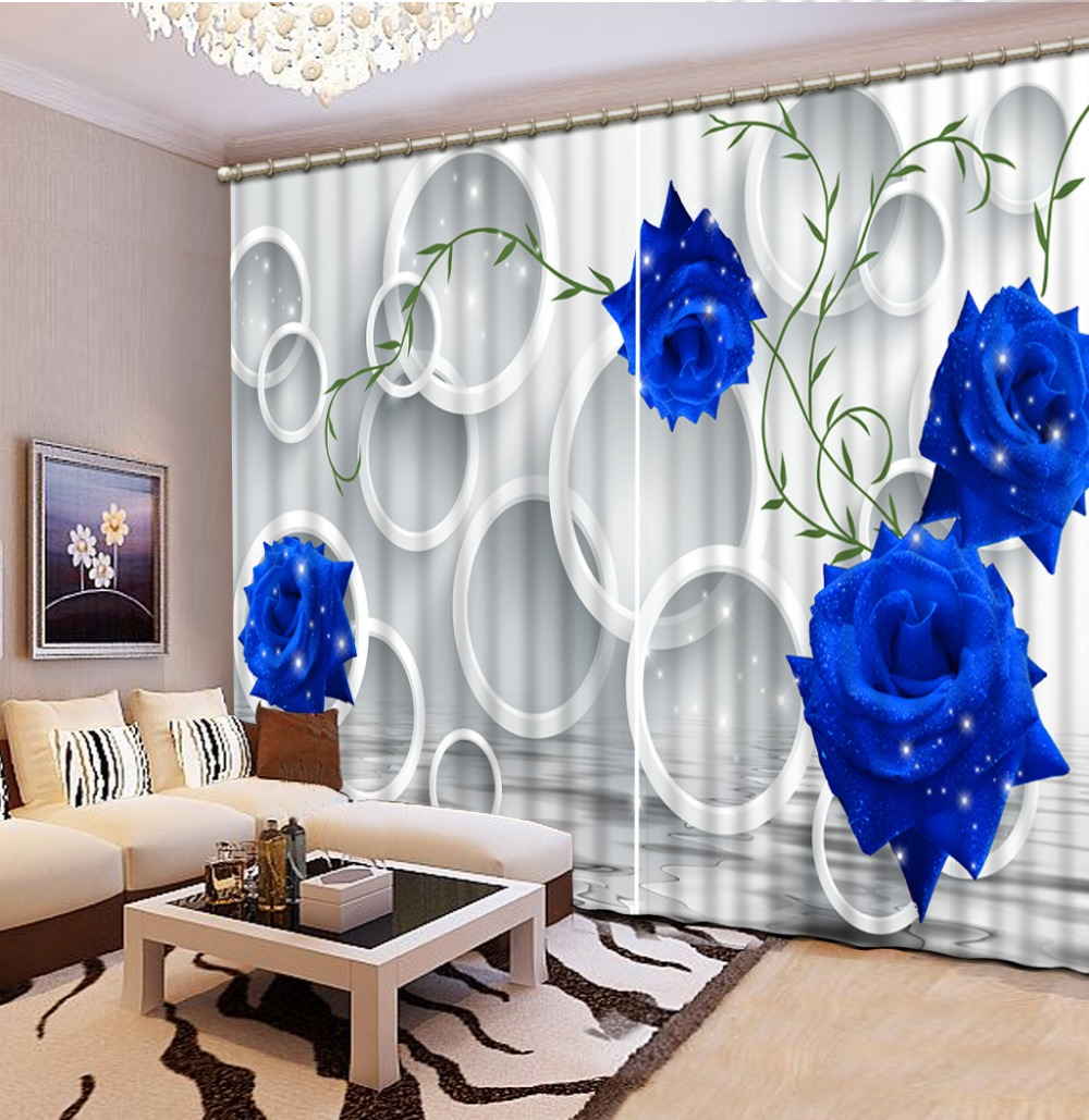 3d curtains Blue rose 3D Window Curtains For Bedding room Curtains ...