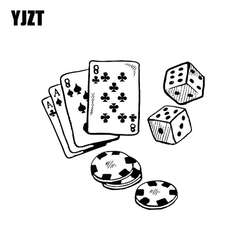 YJZT 15.7*14.4CM Interesting Poker Casino Chips Cards Graphic Car Sticker Decoration Bumper Window Vinyl C12-0050