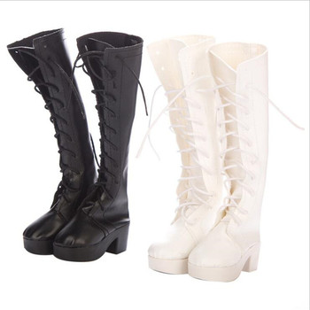 Doll Shoes Accessories Born New Baby Fit 18 inch 43cm BJD Shoelaces boots Black and white boot shoes Suit For Baby Birthday Gift недорого
