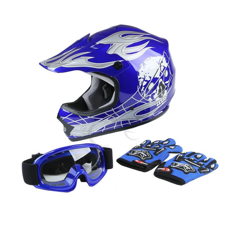 Motorcyle helmet Youth Kids Blue Skull Dirt Bike ATV Motocross ATV Helmet Goggles+Gloves S/M/L