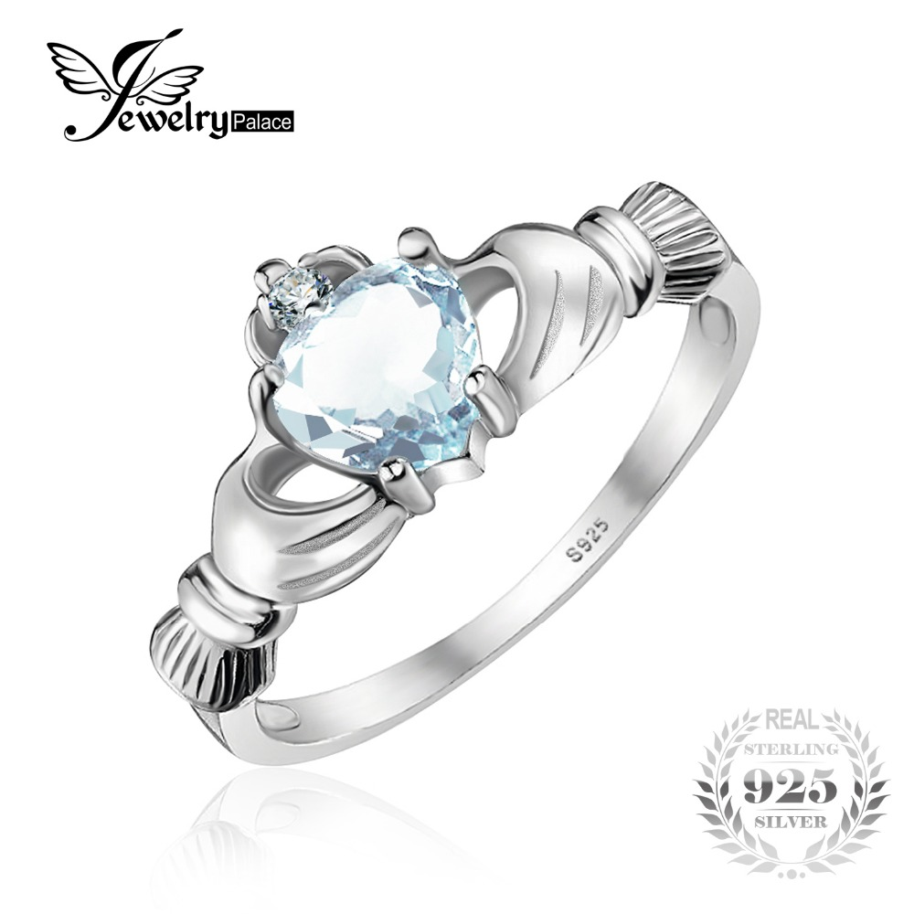 Jewelrypalace Heart Genuine Aquamarine Claddagh Ring Solid 925 Sterling  Silver Rings For Women Wedding Jewelry High