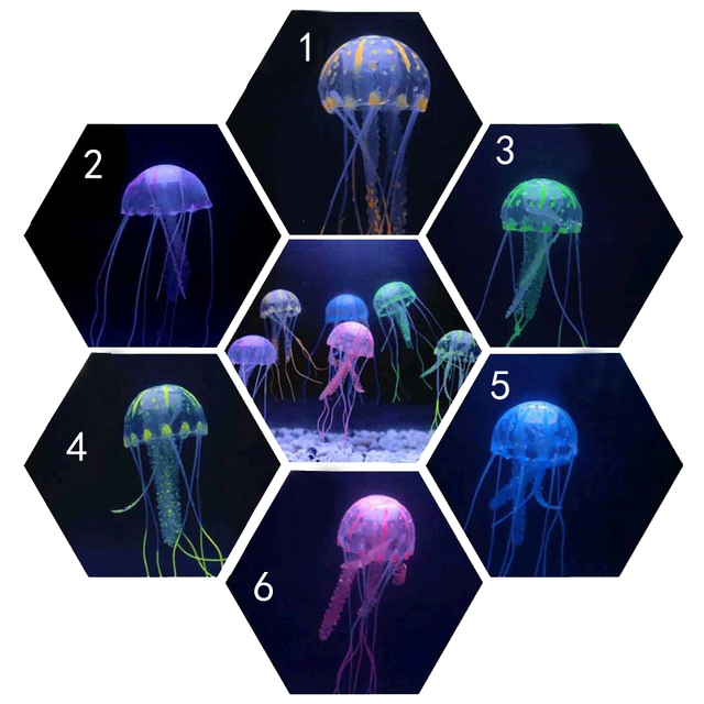 1 pcs Small Size Fluorescent Glowing Jellyfish Aquarium Decorations Lifelike Simulation Of jelly Fish Aquarium Fish Tank Toy S2