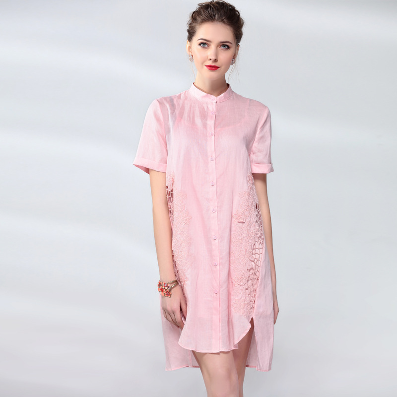 Manches Style pink Robes Qualité Courtes Montant Blue Robe Élégante Irrégularité Supérieure Femme Ramie D'été Vintage red Femmes Mode Col qwFAXE1x
