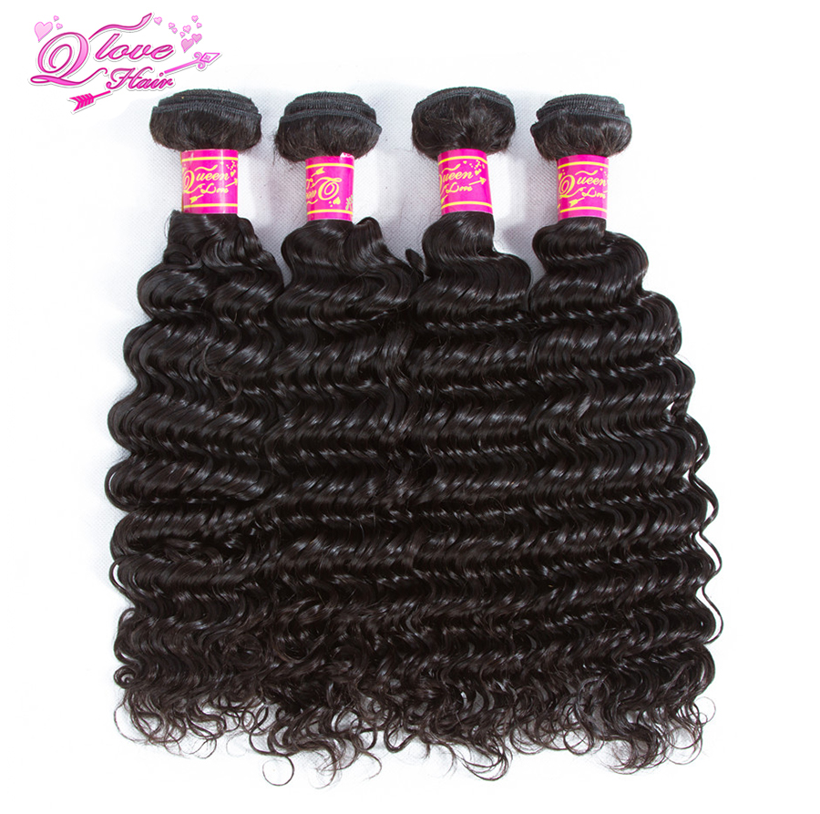 Queen Love Hair Malaysia Deep Wave 4 Bundles 100% Human Hair Weave Natural Color Remy Ha ...