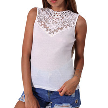 New Arrival Summer Women Sexy Tops O Neck Sleeveless Vest Lace Patchwork Slim Casual