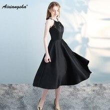 New Arrival Sale Simple Style Prom Dresses 2018 Tee-Length Sleeveless Cheap  Black Prom Dress Elegent vestido de festa Plus Size d79ea873cefc