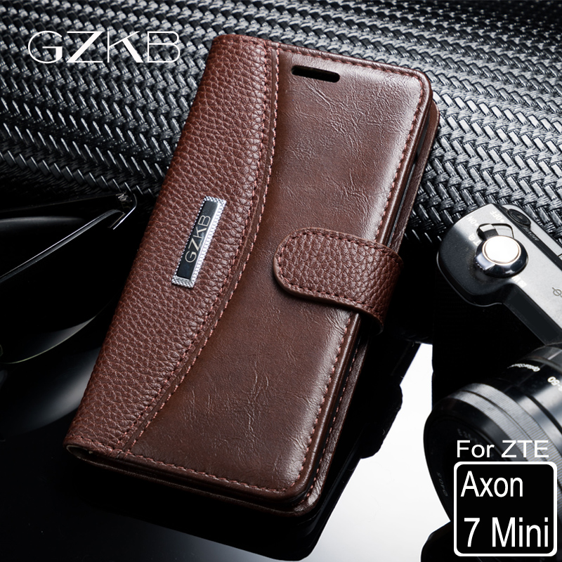 For ZTE Axon 7 Mini Case Cover GZKB High Quality Luxury Leather Flip Wallet Case For ZTE Axon 7 Mini Phone Bags Cover 5.2''
