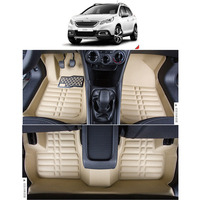 free shipping leather car floor mat carpet rug for peugeot 2008 2014 2015 2016 2017