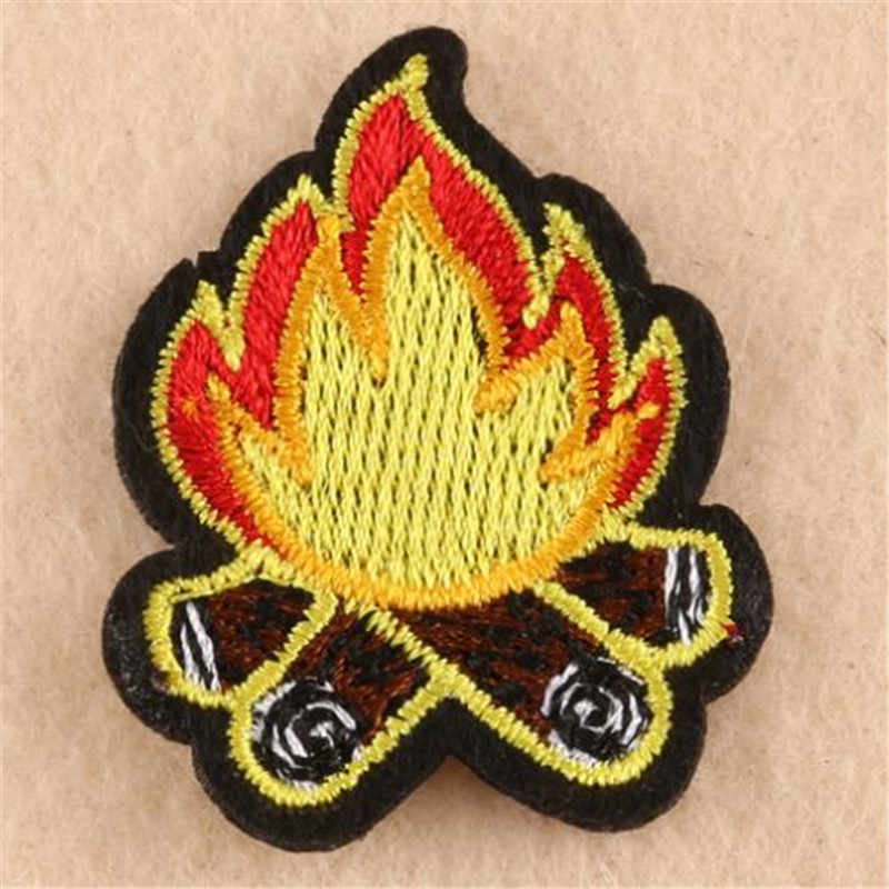 Clothing diy embroidery iron on patch deal with it flame cartoon patches for clothes kids badges stickers fabric free shipping