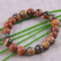 "Free Shipping New without tags Fashion Jewelry Stretch Multi-color 10MM Round Picasso Jasper Bracelet 8"" 1Pcs RH786"
