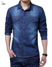 Big Size Men Shirt Denim Large Size 5XL Cotton Turn-down Collar Pockets Men Shirts 2015 New Autumn Long Sleeve Blue