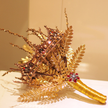 WONDMOND Vintage Style Gold Elegant Leaves Bridal Bouquet