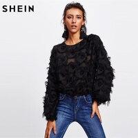 SHEIN Black Fringe Patch Mesh Casual Blouse 2018 Fashion Sexy Autumn Women S Tops Long Sleeve