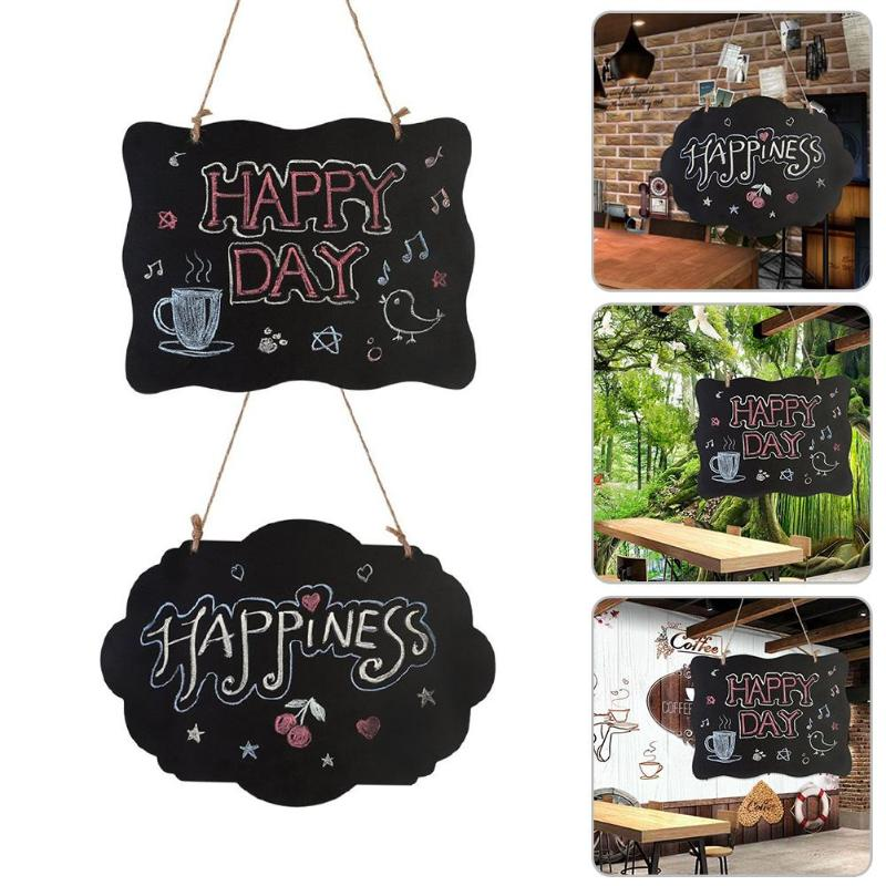 Hanging Wooden Double Side Erasable Chalkboard Wordpad Message Blackboard Sign Boards Party Supplies Home Decoration