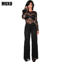 MUXU Patchwork Bodysuit Black Lace Jumpsuit One Piece Jumpsuit Long Sleeve Long Club Women Wide Leg