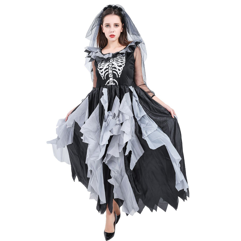 Women Zombie Ghost Bride Costume Day Of The Dead Halloween Party Fancy Dress Cosplay Dress Female vampire scary Zombie