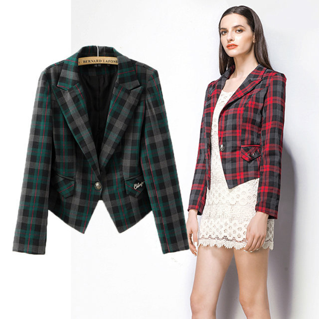 Online Shop 2015 Womens Blazers Jacket Fashion style single button ...