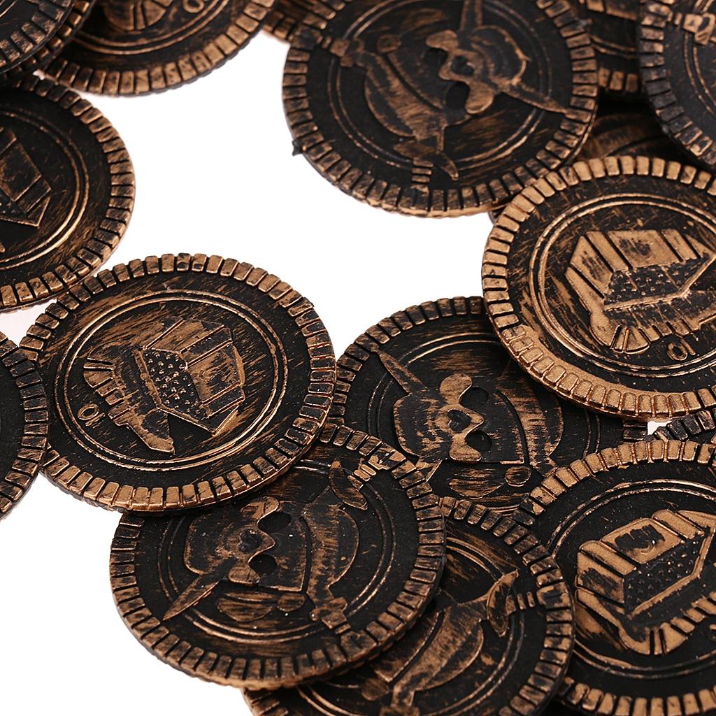 100x plástico tesouro pirata moedas peito pinata jogar dinheiro moeda para festa de aniversário loots