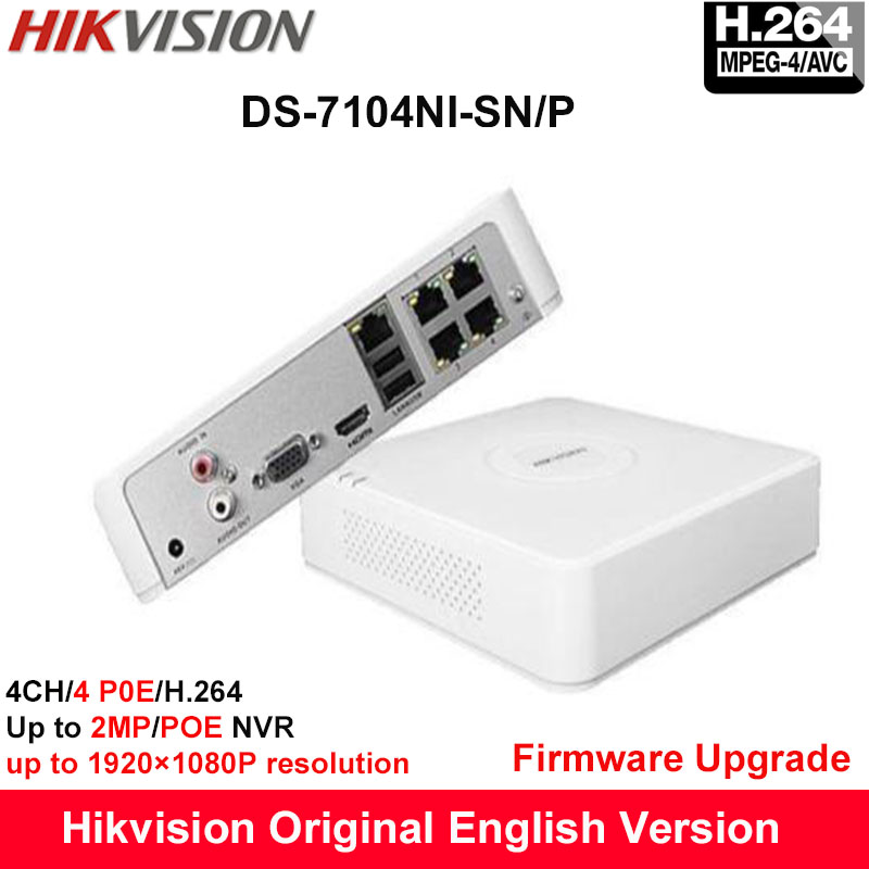 In stock Hikvision Original English POE NVR DS-7104NI-SN/P 4-ch Embedded Mini Plug&Play NVR With 4POE H.264 Up to 2MP original english version nvr ds 7104ni sn p 4ch mini nvr 4ch poe network video recorder hd 1080p nvr work well with h 265 ipc