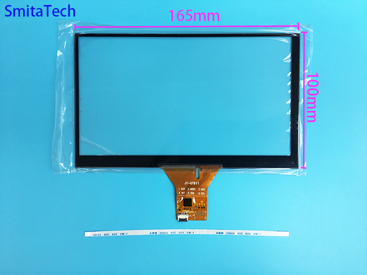 7 inch capacitive touch screen 6 pin for car DVD navigation 165mm * 100mm 164*99mm ribbon cable universal touch screen JY-GT911 zhiyusun gt911 6 pin 167 93mm line touch screen car dvd navigation 7 inch capacitive universal car audio capacitor type