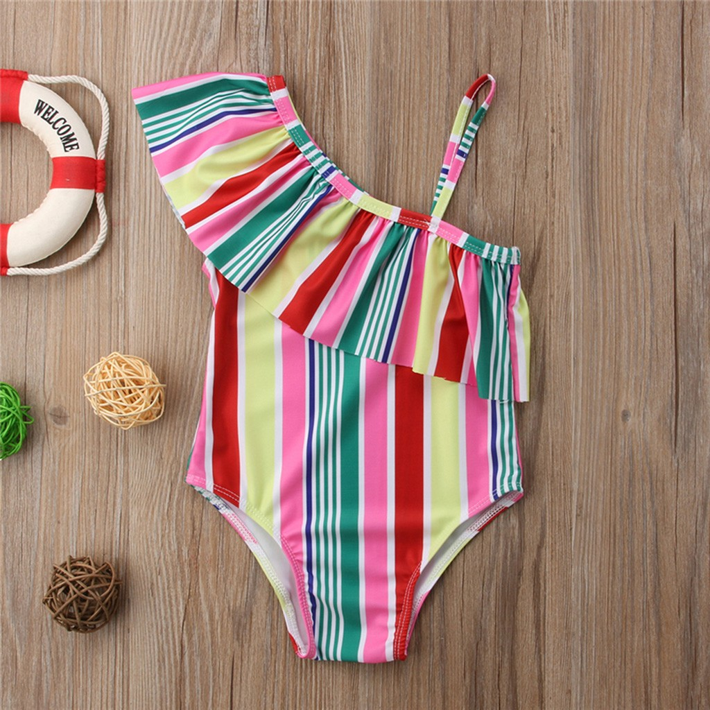 Toddler Baby Sister One-Piece Bikini Swimsuit Rainbow Ruffles Swimwear Stripes Bathing Suit