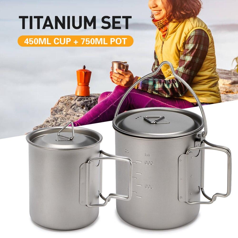 450/750 ml tasse à eau légère Pot en titane tasse à eau en titane tasse à suspendre Pot ensemble poignée pliable Camping ustensiles de cuisine marmite