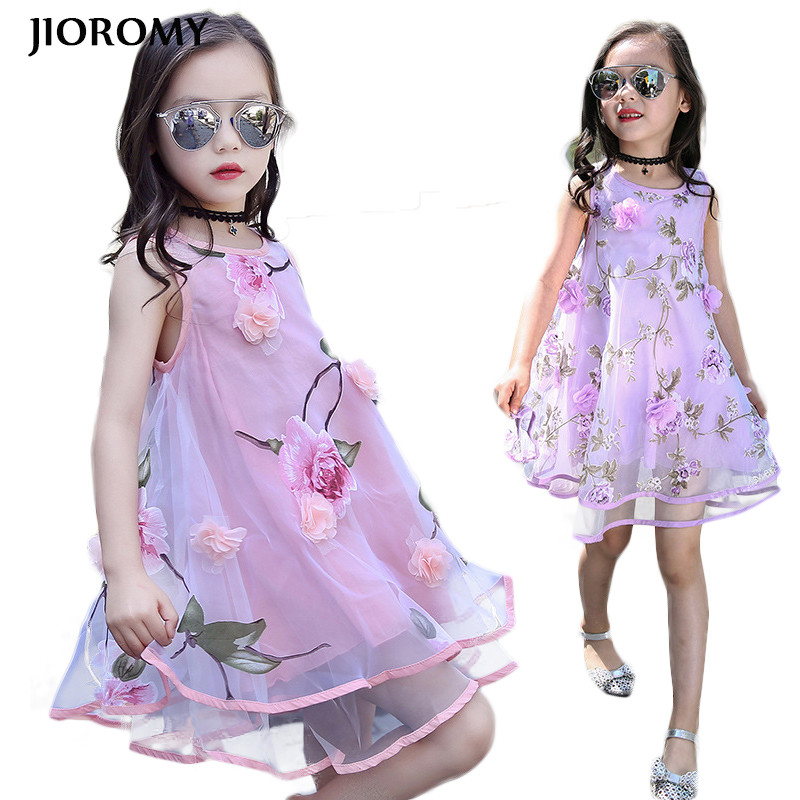 JIOROMY Toddler Girls Dress 2017 Summer New Fashion Kids Party Clothes Sleeveless Children's Princess Dresses for Teens Girls new summer toddler kids baby girls floral sleeveless princess dress flower tutu party dresses
