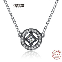 Luxury Retro Authentic 925 Sterling Silver Vintage Dazzling Charm Swarovski Crystal Pendants Necklaces For Women Fine