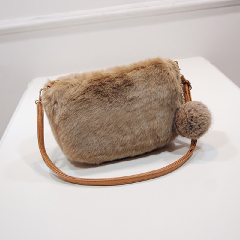 Fashion Winter Women Bags Fur Crossbody Bags Ladies Small Rabbit Fur Shoulder Bags Leather Strap