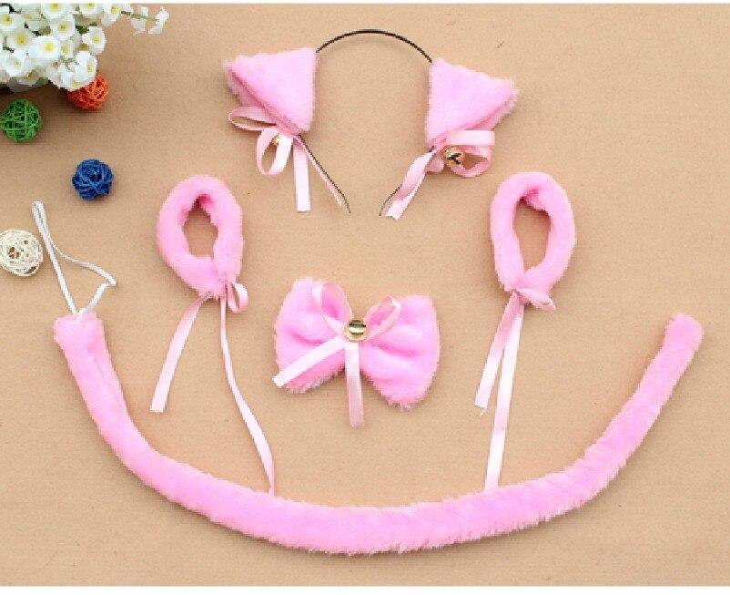 Косплей-Одежда плюшевая черный neko уши ободок с ушками галстук-бабочка браслет с хвостом животного декор для Хэллоуина, вечеринки предметы для вечеринки - Цвет: pink cat
